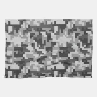 Pixel Grey and Black Army pattern Kitchen Towel
