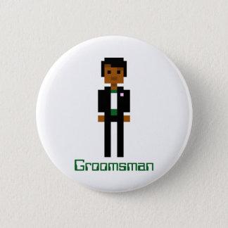 Pixel Groomsman 2 2 Inch Round Button