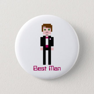 Pixel Groomsman - Maroon - Custom 2 Inch Round Button