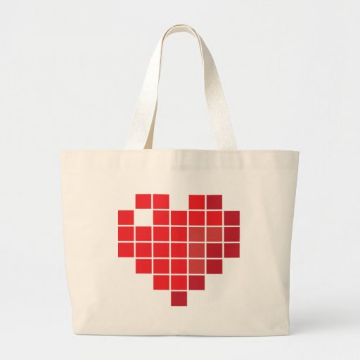 Pixel Heart Tote Bags