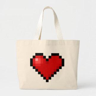 Pixel heart jumbo tote bag