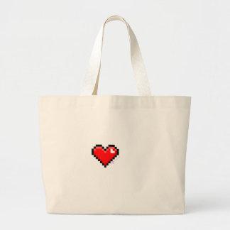 pixel heart large tote bag