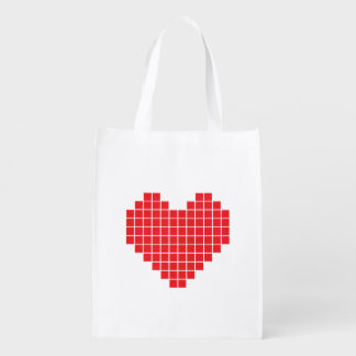 Pixel Heart Reusable Bag Market Tote