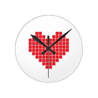 Pixel Heart Round Clock