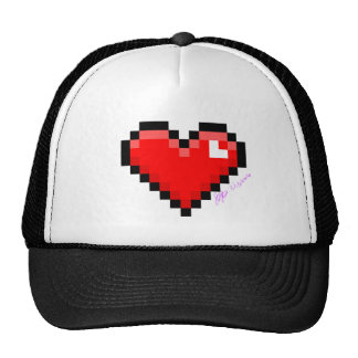 pixel heart trucker hat