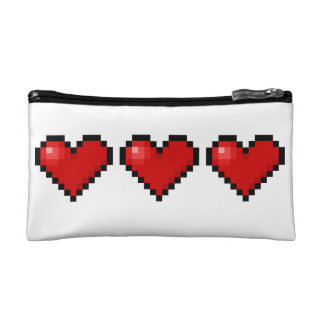 Pixel hearts cosmetic bags