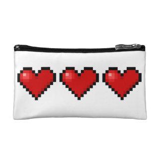 Pixel hearts cosmetic bag