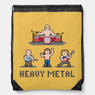 Pixel Heavy Metal Drawstring Backpack