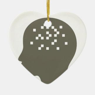Pixel in a head ceramic ornament