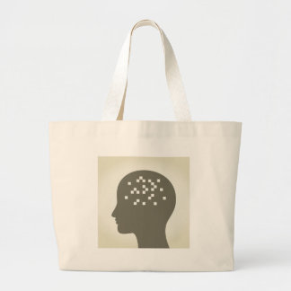 Pixel in a head large tote bag