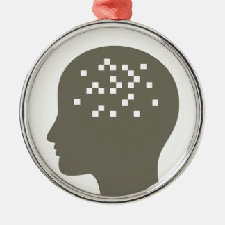 Pixel in a head Silver-Colored round ornament
