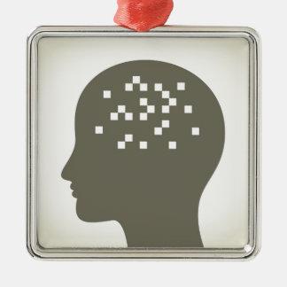 Pixel in a head Silver-Colored square ornament
