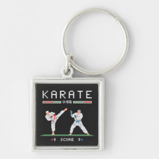 Pixel Karate Game Silver-Colored Square Keychain