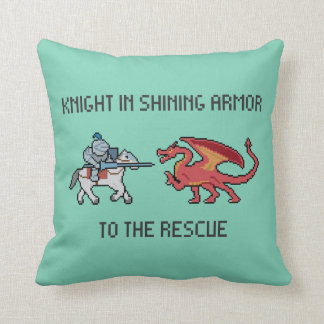 Pixel Knight vs Dragon Throw Pillow