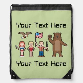 Pixel 'Merica Custom Drawstring Bags