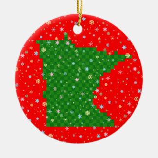 Pixel Minnesota and Pastel Snowflakes Ceramic Ornament