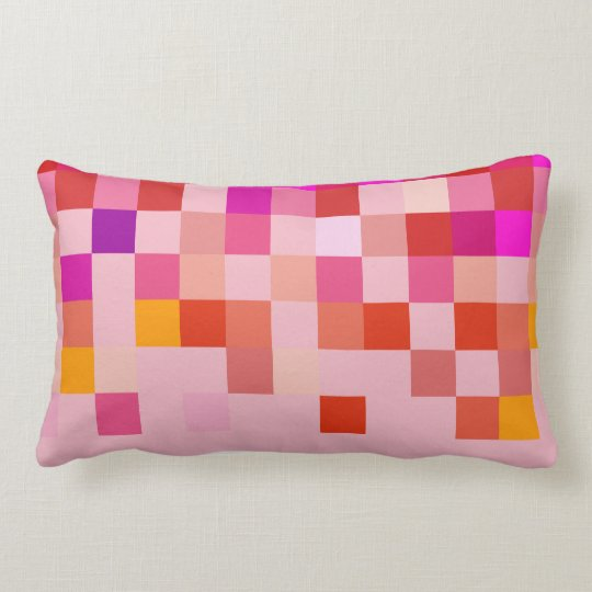Pixel Modern Rose Pink Pattern Pillow
