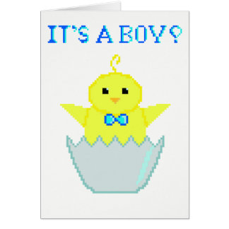 Pixel Newborn Baby Boy Card