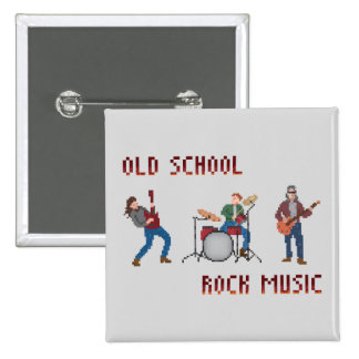Pixel Old School Rock Music 2 Inch Square Button