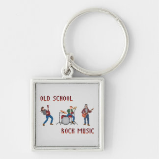 Pixel Old School Rock Music Silver-Colored Square Keychain