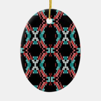 Pixel Pattern Ceramic Oval Ornament