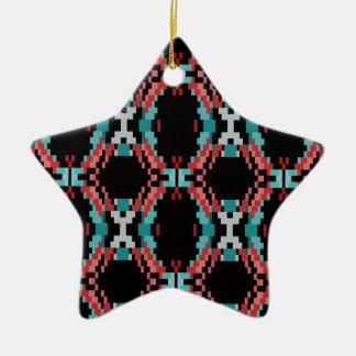 Pixel Pattern Ceramic Star Ornament