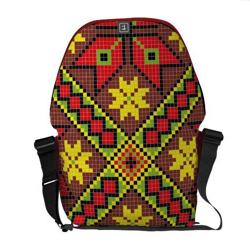 Pixel Pattern Messenger Bag