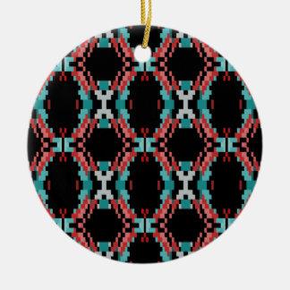 Pixel Pattern Round Ceramic Ornament
