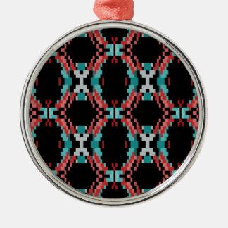 Pixel Pattern Silver-Colored Round Ornament