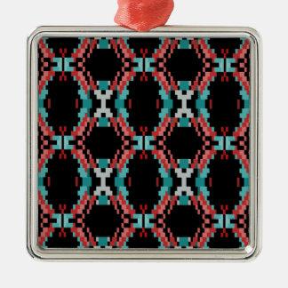 Pixel Pattern Silver-Colored Square Ornament