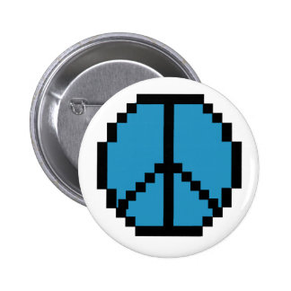 Pixel Peace Black and Blue 2 Inch Round Button