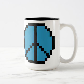 Pixel Peace Black and Blue Two-Tone Coffee Mug