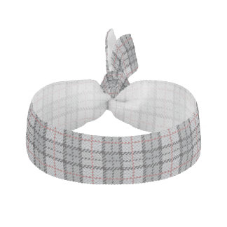 Pixel Plaid in Grey with Red Stripe Hair Tie