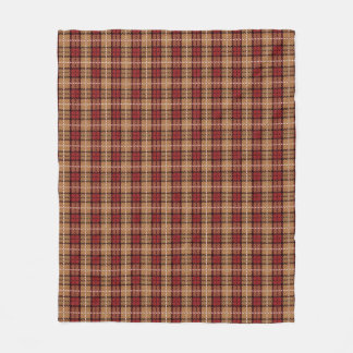 Pixel Plaid in Red and Gold Fleece Blanket