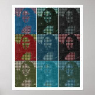 Pixel popart: Da Vinci's Mona Lisa (La Gioconda) Poster