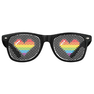 Pixel Rainbow Hearts LGBT Pride Retro Sunglasses