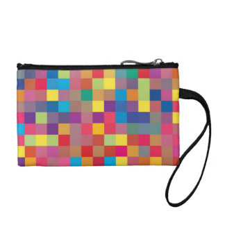 Pixel Rainbow Square Pattern Coin Purses