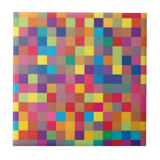 Pixel Rainbow Square Pattern Tile