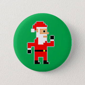 Pixel Santa Clause 2 Inch Round Button