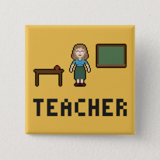 Pixel School Teacher Button