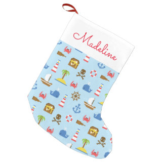 Pixel Sea Art Pattern | Add Your Name Small Christmas Stocking