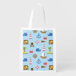 Pixel Sea Art Pattern Grocery Bag