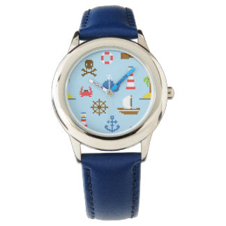 Pixel Sea Art Pattern Wristwatches