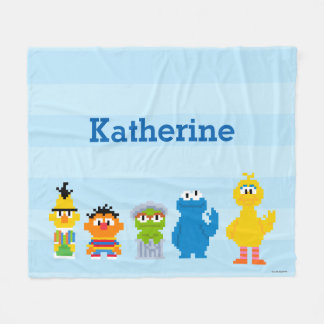Pixel Sesame Street Characters | Add Your Name Fleece Blanket