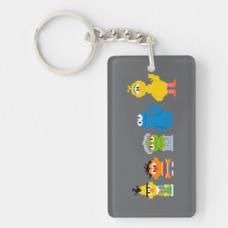 Pixel Sesame Street Characters Double-Sided Rectangular Acrylic Keychain