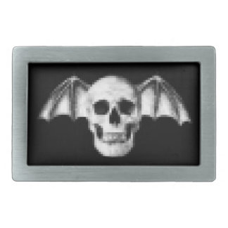Pixel Skull with Bat Wings Belt Buckles