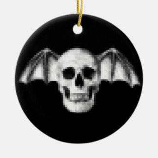 Pixel Skull with Bat Wings Ceramic Ornament