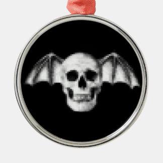 Pixel Skull with Bat Wings Metal Ornament