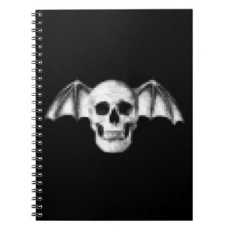 Pixel Skull with Bat Wings Spiral Notebook