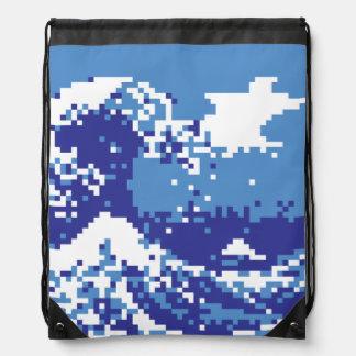 Pixel Tsunami Blue 8 Bit Pixel Art Cinch Bag